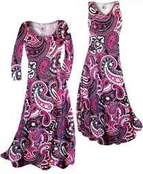 SOLD OUT! Customize Raspberry Paisley Teardrop Slinky Print Plus Size & Supersize Standard or Cascading A-Line or Princess Cut Dresses & Shirts, Jackets, Pants, Palazzo's or Skirts Lg to 9x