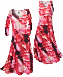 SOLD OUT! Customize Red & Black Fire Tye Dye Slinky Print Plus Size & Supersize Standard or Cascading A-Line or Princess Cut Dresses & Shirts, Jackets, Pants, Palazzo's or Skirts Lg to 9x