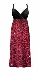 4e86004e0a017 SOLD OUT! SALE! Pink Glitter Leopard Glimmer Plus Size Slinky Black Empire  Waist Dress