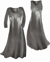 SOLD OUT! Customize Silver Metallic Slinky Plus Size & Supersize Standard or Cascading A-Line or Princess Cut Dresses & Shirts, Jackets, Pants, Palazzo's or Skirts Lg to 9x