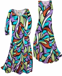 SOLD OUT! Customize Blue & Purple Stained Glass Slinky Print Plus Size & Supersize Standard or Cascading A-Line or Princess Cut Dresses & Shirts, Jackets, Pants, Palazzo's or Skirts Lg to 9x
