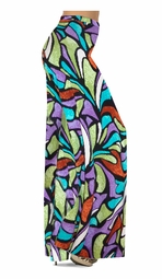 SOLD OUT! Customize Blue & Purple Stained Glass Slinky Print Special Order Plus Size & Supersize Pants, Capri's, Palazzos or Skirts! Lg to 9x