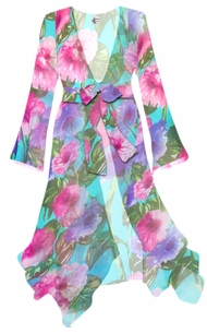 Customizable Teal With Pink and Purple Flowers Print Sheer Blouse Swimsuit Coverup Plus Size & Supersize 0x 1x 2x 3x 4x 5x 6x 7x 8x