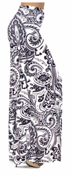 SOLD OUT!! SALE! White & Black Persian Paisley Slinky Print Full Length Plus Size Supersize Maxi Skirts 1x