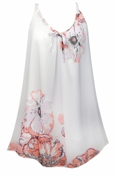 SOLD OUT! White With Pink Tea Roses Print Semi Sheer A-Line Overshirt Supersize & Plus Size Tops 0x 1x 2x 3x 4x 5x 6x 7x 8x