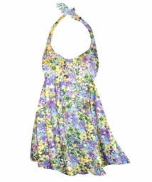 NEW! Customizable Yellow Violet Floral Halter or Shoulder Strap 2pc Plus Size Swimsuit/SwimDress 0x 1x 2x 3x 4x 5x 6x 7x 8x 9x