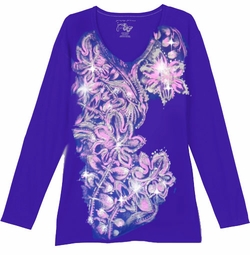CLEARANCE! Dark Purple With Light Pink Blossoms Floral Glittery Plus Size T-Shirt 1x