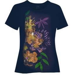 FINAL CLEARANCE SALE! Dark Navy Dragonflies Glittery Plus Size T-Shirt 4x