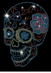 SALE! Day Of The Dead Sugar Skull With Cross & Rose Sparkly Rhinestuds Plus Size & Supersize T-Shirts S M L XL 2x 3x 4x 5x 6x 7x 8x 9x (All Colors)