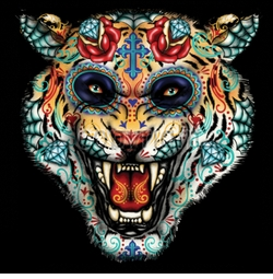 SALE! Day Of The Dead Tiger Head Plus Size & Supersize T-Shirts S M L XL 2x 3x 4x 5x 6x 7x 8x 9x (All Colors)
