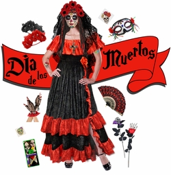 NEW! Dia de los Muertos! Day of the Dead Plus Size Day of the Dead Halloween Costume Long Dress & Accessory Kits XL 1x 2x 3x 4x 5x 6x 7x 8x