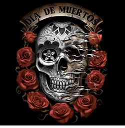 SALE! Dia De Muertos Skull With Roses Plus Size & Supersize T-Shirts S M L XL 2x 3x 4x 5x 6x 7x 8x (Darks Only)