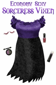 SALE! Economy Style Sexy Sorceress Vixen Purple & Black Plus Size & Supersize Halloween Costume and Accessory Kit! Lg XL 1x 2x 3x 4x 5x 6x 7x 8x 9x