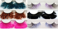 SALE! False Eyelashes -- Spotted Orange Feather -- Spotted Blue Feather -- Solid Hot Pink Feather -- Thin Purple/Black --  False Eyelashes