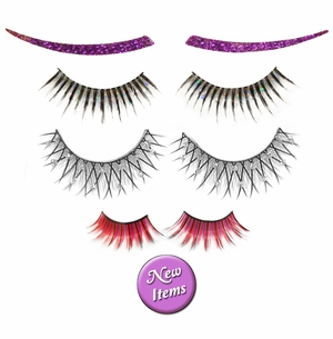 NEW! Fancy False Eyelashes - Extra Long! Plain - Rhinestone - Feather