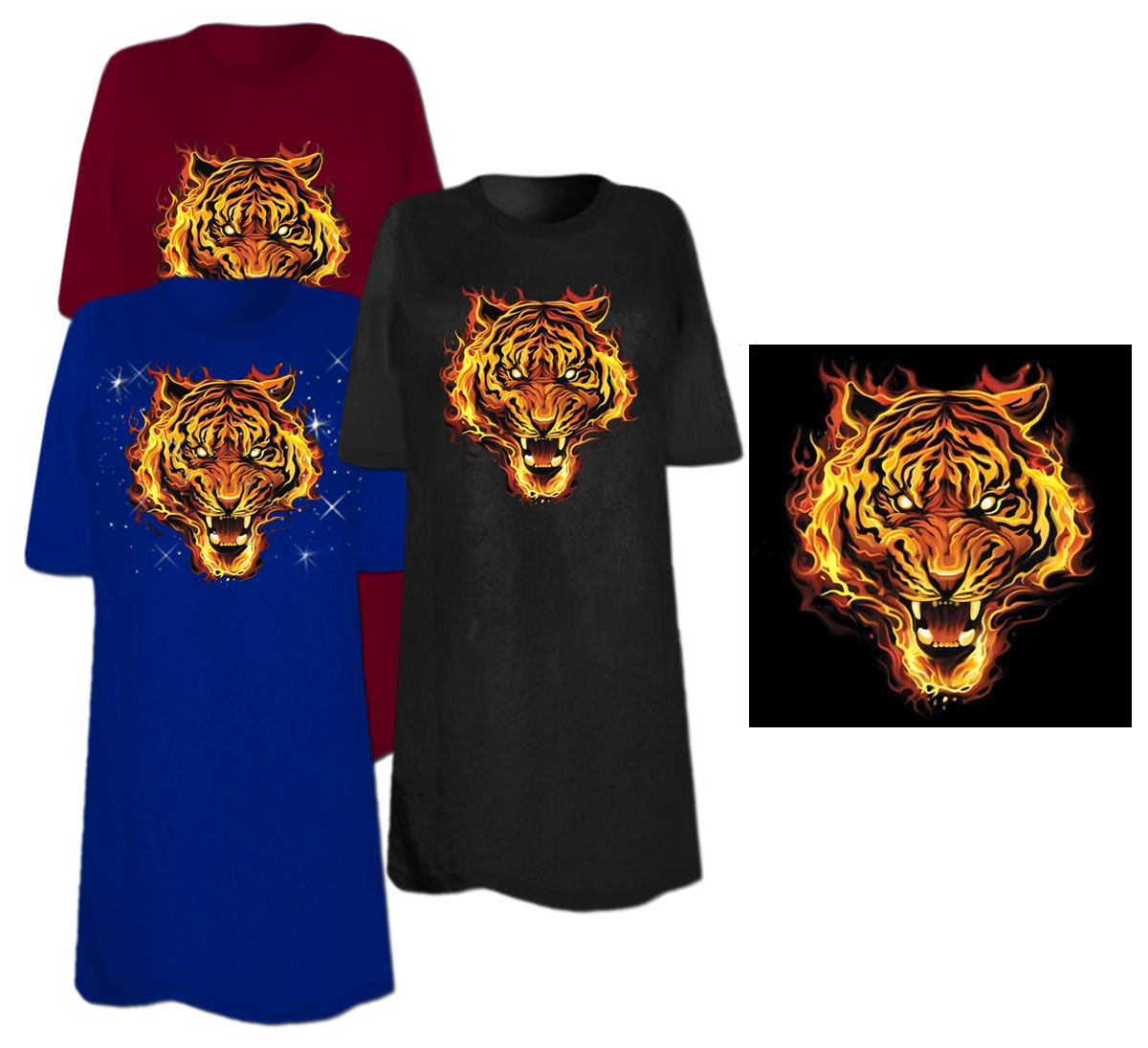 Sale flaming tiger plus size supersize t shirts s m l for 3x shirts on sale