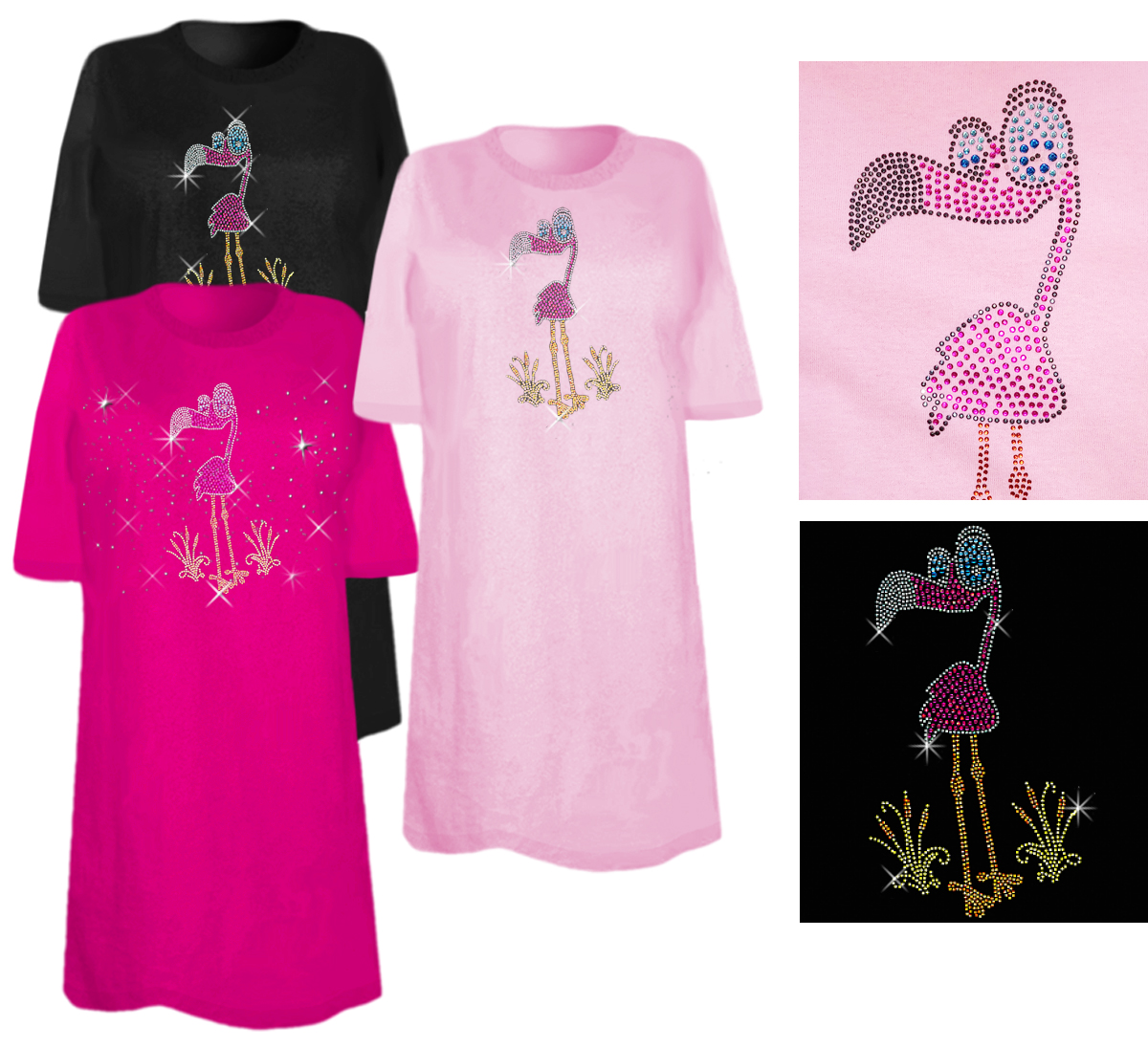 Sale Flamingo Rhinestone Studs Plus Size Supersize T