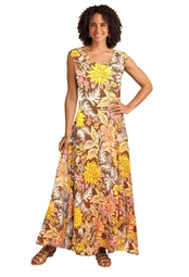 CLEARANCE! French Roast Floral Print Princess Cut Tank Plus Size Maxi Dress 6x