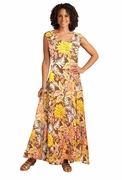 SOLD OUT! French Roast Floral Print Princess Cut Tank Plus Size Maxi Dress