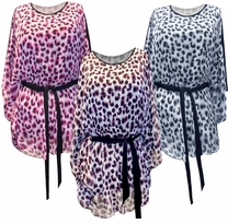 SOLD OUT! FINAL SALE! Just Reduced! Fuchsia, Black & Gray, or Purple Leopard Animal Spots Print Slinky Flutter Tops Plus Size 4x 5x 6x
