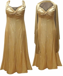 SOLD OUT! SALE Glamorous Gold Glittery Satin 2 Piece Plus Size SuperSize Princess Seam Dress Set 6x