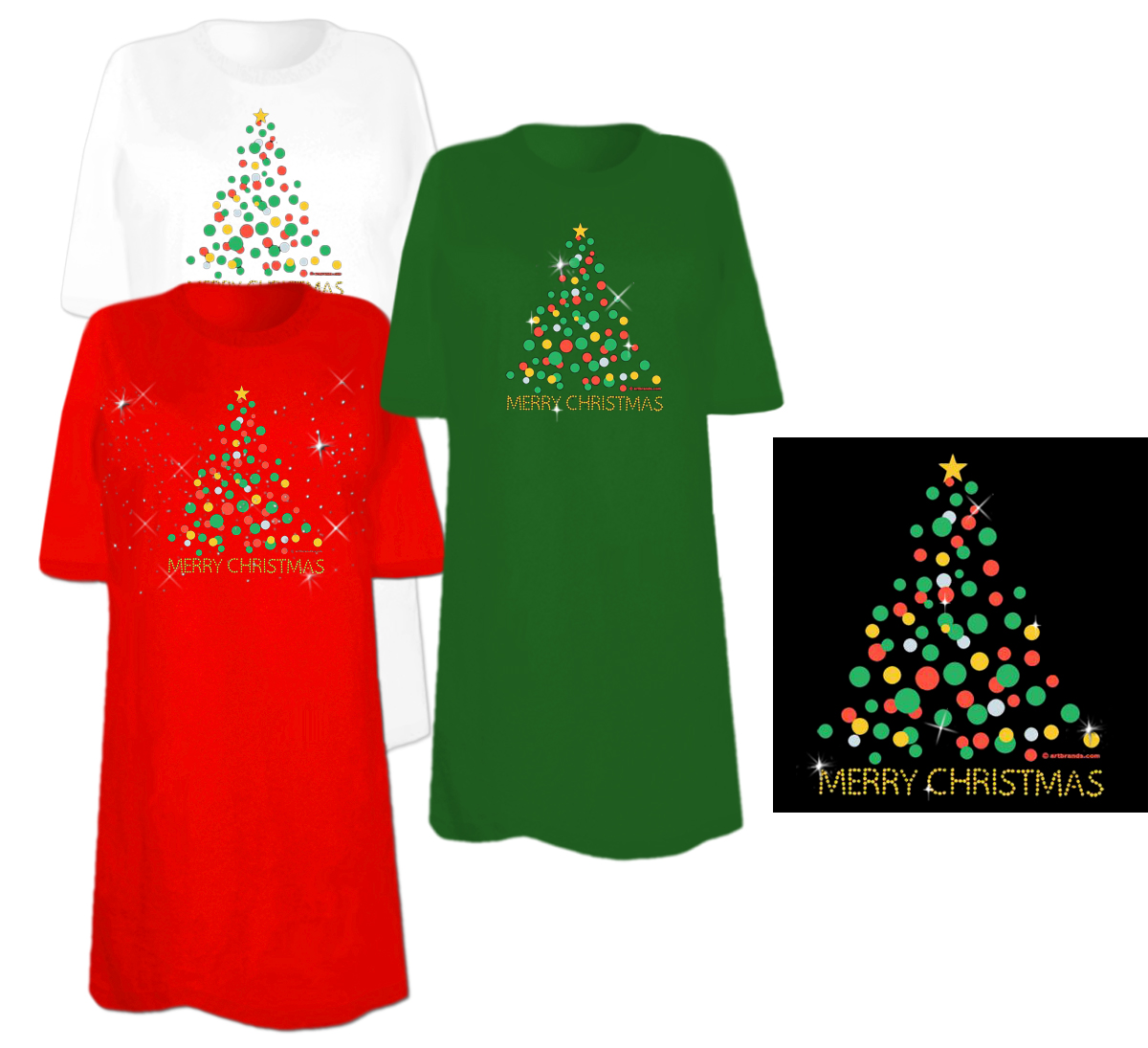 SOLD OUT! Glitter Christmas Tree Rhinestone / Studs Plus Size ...