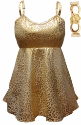 SOLD OUT! Babydoll Style Plus Size Swim Tank in Gold Leopard Metallic Print 0x 1x 2x 3x 4x 5x 6x 7x 8x 9x Customizable & X-Long!
