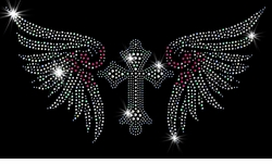 SALE! Gothic Cross With Pink & Silver Wings Sparkly Rhinestuds Plus Size & Supersize T-Shirts S M L XL 2x 3x 4x 5x 6x 7x 8x 9x (All Colors)