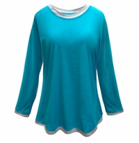 NEW! Teal & Gray Long Sleeve Plus Size T-Shirt 4x