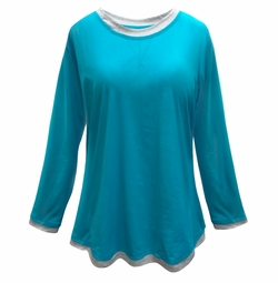 FINAL CLEARANCE SALE! Teal & Gray Long Sleeve Plus Size T-Shirt 4x