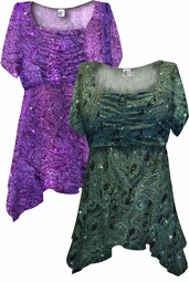 SOLD OUT! Green Paisley Glitter Formal Slinky Print Supersize & Plus Size Babydoll Tops 0x 1x 2x 3x 4x 5x 6x 7x 8x