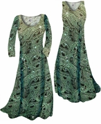 SOLD OUT! CLEARANCE! Green Paisley Glitter Slinky Print Plus Size & Supersize  A-Line Dress 5x