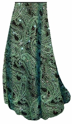 SOLD OUT! Green Paisley Glitter Slinky Print Special Order Customizable Plus Size & Supersize Pants, Capri's, Palazzos or Skirts! Lg to 9x