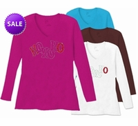 SALE! HO HO HO! Rhinestones Long Sleeve Plus Size T-Shirts White Brown Raspberry Teal Wine Lime 4x 5x