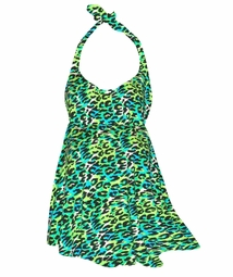 SOLD OUT! Customizable Hot Bright Teal & Lime Green Leopard Print Halter or Shoulder Strap 2pc Plus Size Swimsuit/SwimDress 0x 1x 2x 3x 4x 5x 6x 7x 8x 9x