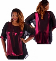 SOLD OUT! SALE! Hot Metallic Magenta With Sheer Black Short Sleeves Slinky Plus Size Tunic Top 4x 5x 6x