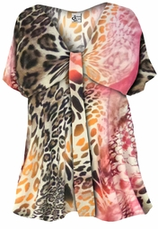 SOLD OUT! Hot Pink Leopard or Cool Purple Tye Dye Plus Size Slinky V Neck W Knot Style Tunic Top Shirt 0x 1x 2x 3x 4x Supersize 5x 6x 7x 8x 9x