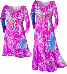 SOLD OUT! Hot Pink & Turquoise Abstract Print Slinky Plus Size & Supersize Customizable Shirts, Dresses, & Jackets Lg to 9x