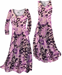 SOLD OUT! Hot Purple & Mauve Leopard Slinky Print Plus Size & Supersize Standard or Cascading A-Line or Princess Cut Dresses & Shirts, Jackets, Pants, Palazzo's or Skirts Lg to 9x