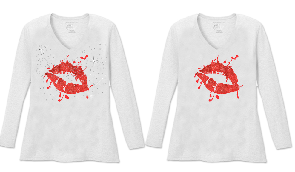 97d323c56734 SOLD OUT! Hot Red Sparkle Glitter Lips Long Sleeve Plus Size Shirt ...