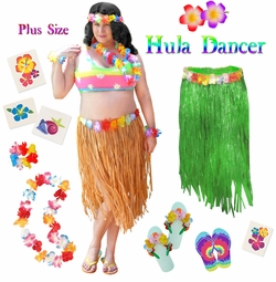 SALE! Green or Tan Hula Dancer Skirt Deluxe Costume Set Plus Size & Supersize Halloween Costume and Accessory Kit! Sizes Lg XL 1x 2x 3x 4x 5x 6x 7x 8x 9x