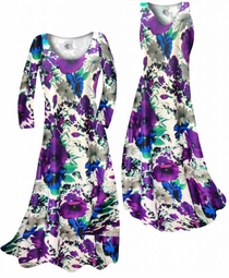 SOLD OUT! NEW! Indigo Blue & Purple Bellflowers Floral Slinky Print Plus Size & Supersize Standard or Cascading A-Line or Princess Cut Dresses & Shirts, Jackets, Pants, Palazzo's or Skirts Lg to 9x