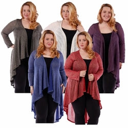 SALE! Ivory Purple or Black Red & Blue Sparkle Glimmer! Knitted Sweater Coverup Cardigan Plus Size Jackets 5x