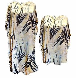 SOLD OUT! Ivory & Yellow Tribal Streaks Print Plus Size & Supersize Caftan Dress or Shirt 1x to 6x