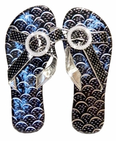CLEARANCE! Sparkly Ladies Shiny Black With Pretty Decor Flip Flop Shoes Sizes 5 6