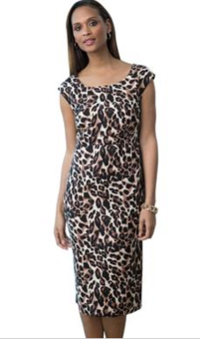 Sold Out Leopard Brown Print Plus Size Mid Length Dress