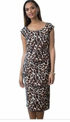 CLEARANCE! Leopard Brown Print Plus Size Mid Length Dress 5x 6x 38W