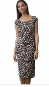 SOLD OUT! Leopard Brown Print Plus Size Mid Length Dress