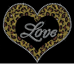 SALE! Leopard Love Heart Sparkly Rhinestuds Plus Size & Supersize T-Shirts S M L XL 2x 3x 4x 5x 6x 7x 8x 9x (All Colors)