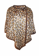 Leopard Micro Fleece Plus Size & Supersize Poncho